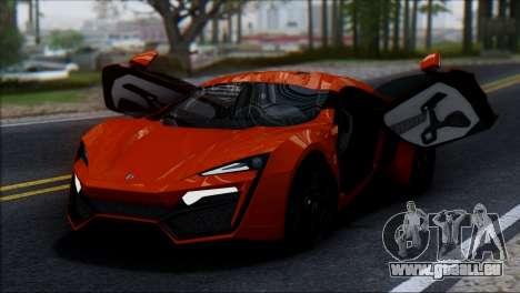 W Motors Lykan Hypersport 2013 für GTA San Andreas Rückansicht