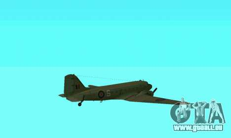 C-47 Dakota RAF für GTA San Andreas obere Ansicht