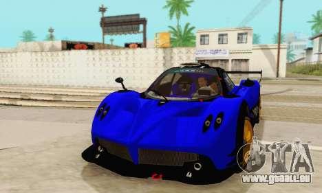Pagani Zonda Type R Blue pour GTA San Andreas vue arrière