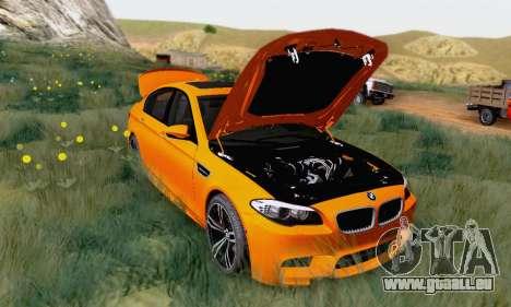 BMW F10 M5 2012 Stock pour GTA San Andreas laissé vue