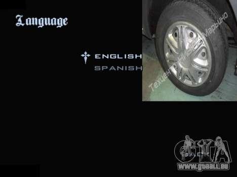Menu Automobile Chapeaux De Roues pour GTA San Andreas neuvième écran