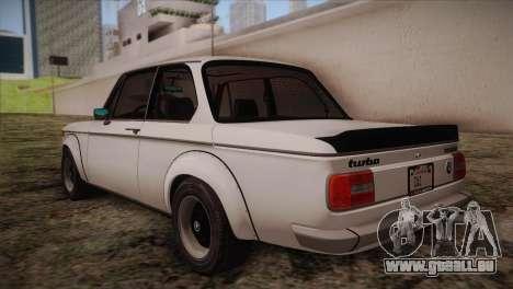 BMW 2002 1973 pour GTA San Andreas sur la vue arrière gauche