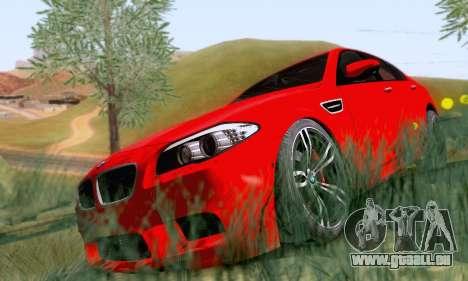 BMW F10 M5 2012 Stock pour GTA San Andreas sur la vue arrière gauche