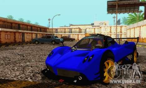 Pagani Zonda Type R Blue pour GTA San Andreas vue intérieure