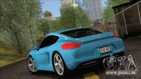 Porsche Cayman S 2014 für GTA San Andreas zurück linke Ansicht