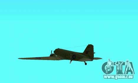 C-47 Dakota RAF für GTA San Andreas Seitenansicht