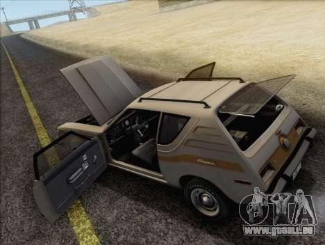 AMC Gremlin X 1973 pour GTA San Andreas vue intérieure