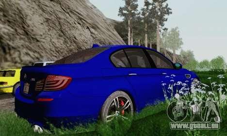 BMW F10 M5 2012 Stock für GTA San Andreas obere Ansicht