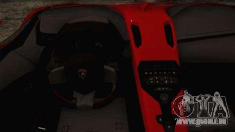 Lamborghini Aventandor J 2010 für GTA San Andreas Rückansicht