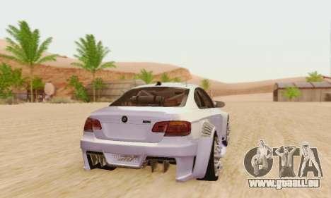 BMW M3 E92 SHD Tuning pour GTA San Andreas sur la vue arrière gauche