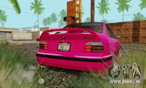 BMW E36 M3 1997 Stock für GTA San Andreas zurück linke Ansicht
