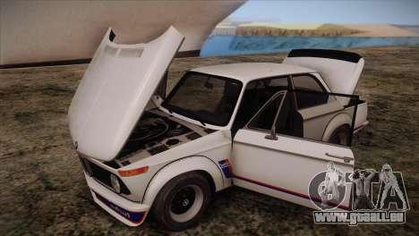 BMW 2002 1973 pour GTA San Andreas vue intérieure