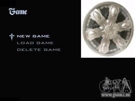 Menu Automobile Chapeaux De Roues pour GTA San Andreas troisième écran