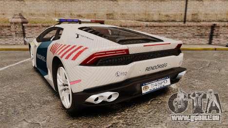 Lamborghini Huracan Hungarian Police [Non-ELS] pour GTA 4 Vue arrière de la gauche