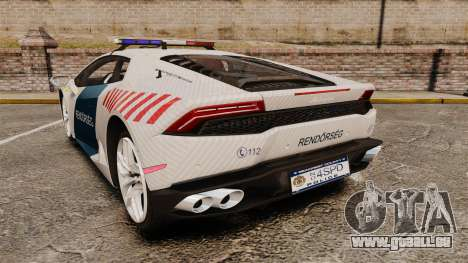 Lamborghini Huracan Hungarian Police [Non-ELS] für GTA 4 hinten links Ansicht