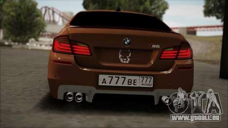 BMW M5 F10 für GTA San Andreas Rückansicht