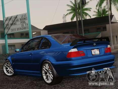 BMW M3 E46 GTR 2005 pour GTA San Andreas laissé vue