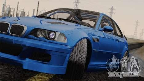 BMW M3 E46 GTR 2005 pour GTA San Andreas sur la vue arrière gauche