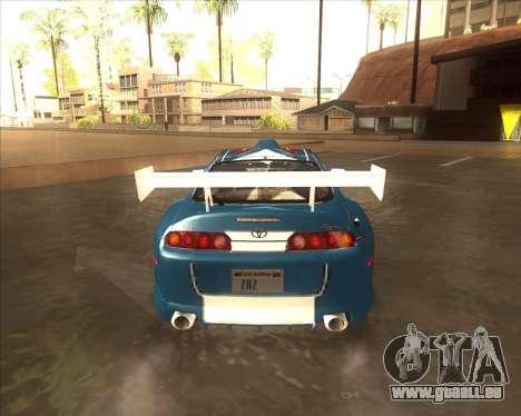 Toyota Supra из NFS most Wanted pour GTA San Andreas sur la vue arrière gauche