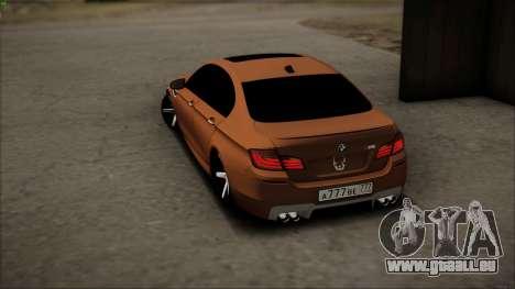 BMW M5 F10 pour GTA San Andreas vue de dessus