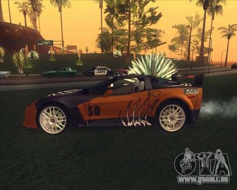 Chevrolet Corvette C6 из NFS MW pour GTA San Andreas sur la vue arrière gauche