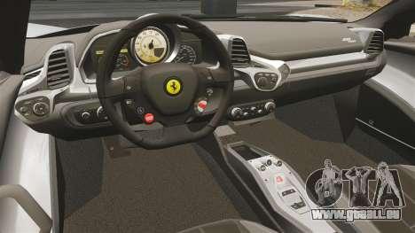 Ferrari 458 Spider für GTA 4 Rückansicht