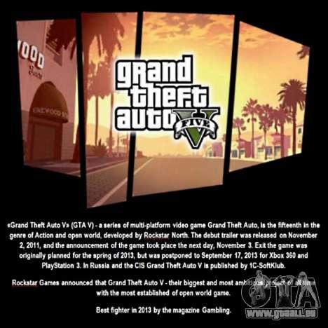 Démarrage de l'écran de GTA V pour GTA San Andreas