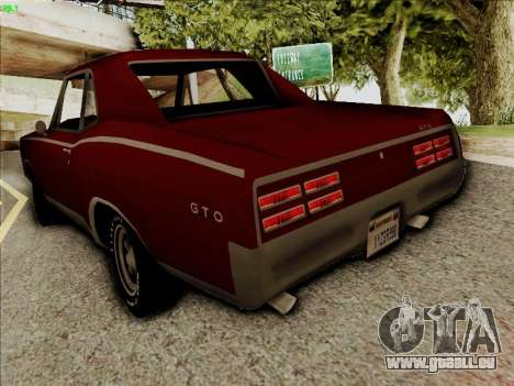 Pontiac GTO 1967 pour GTA San Andreas sur la vue arrière gauche