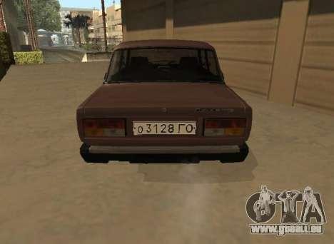 VAZ 2107 Frühen version für GTA San Andreas zurück linke Ansicht