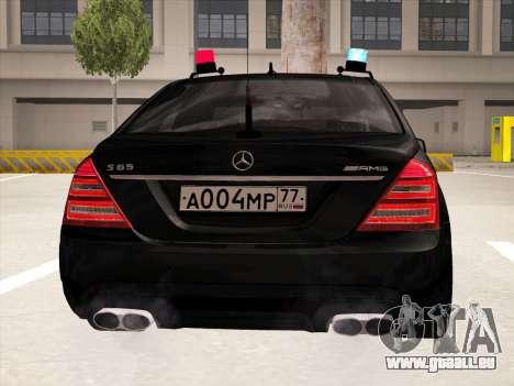 Mercedes-Benz S65 AMG 2012 für GTA San Andreas Rückansicht