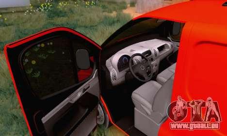 Opel Vivaro pour GTA San Andreas vue intérieure