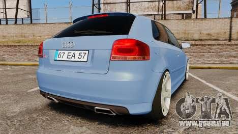 Audi S3 EmreAKIN Edition pour GTA 4 Vue arrière de la gauche