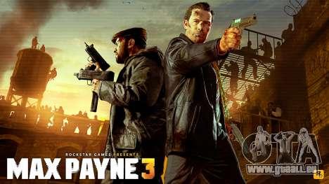 Les écrans de démarrage Max Payne 3 HD pour GTA San Andreas