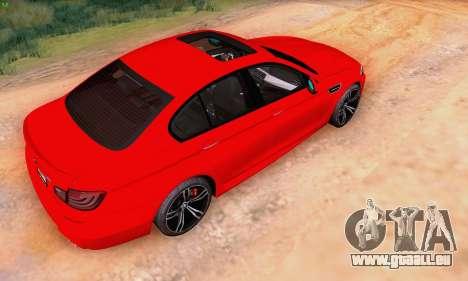 BMW F10 M5 2012 Stock für GTA San Andreas rechten Ansicht