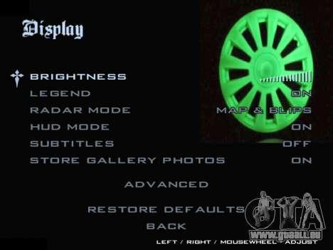 Menü Automobil-Radkappen für GTA San Andreas sechsten Screenshot