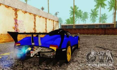 Pagani Zonda Type R Blue pour GTA San Andreas sur la vue arrière gauche