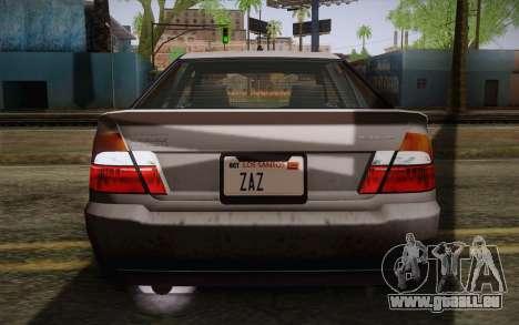 Sultan из GTA 5 pour GTA San Andreas vue de dessus