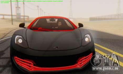 Mclaren MP4-12C Spider Sonic Blum für GTA San Andreas Rückansicht