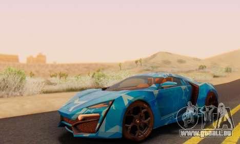 W-Motors Lykan Hypersport 2013 Blue Star pour GTA San Andreas vue de côté