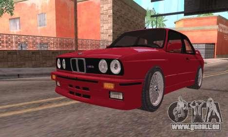 BMW E30 M3 1991 pour GTA San Andreas sur la vue arrière gauche