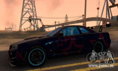Nissan Skyline GTR 34 Blue Star pour GTA San Andreas vue arrière