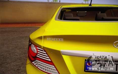 Hyundai Accent Taxi 2013 pour GTA San Andreas vue arrière