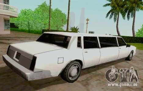 Tahoma Limousine pour GTA San Andreas sur la vue arrière gauche