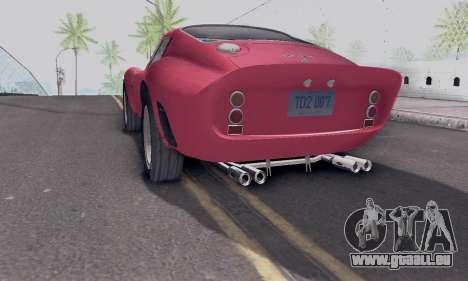 Ferrari 250 GTO 1962 pour GTA San Andreas laissé vue