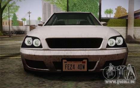 Sultan из GTA 5 pour GTA San Andreas vue intérieure