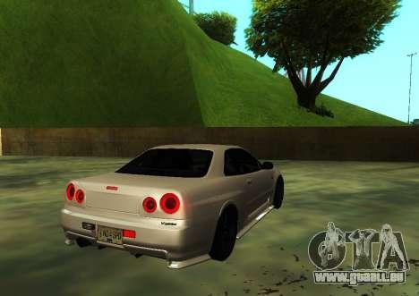 Nissan Skyline R34 V-Spec pour GTA San Andreas laissé vue