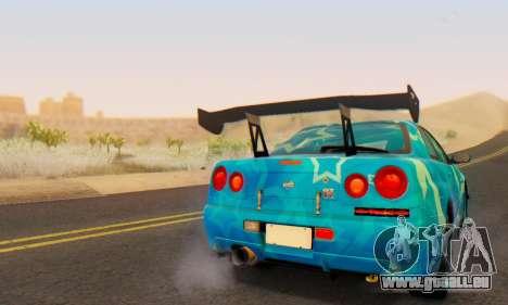 Nissan Skyline GTR 34 Blue Star pour GTA San Andreas vue de dessus