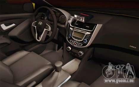 Hyundai Accent Taxi 2013 pour GTA San Andreas vue intérieure