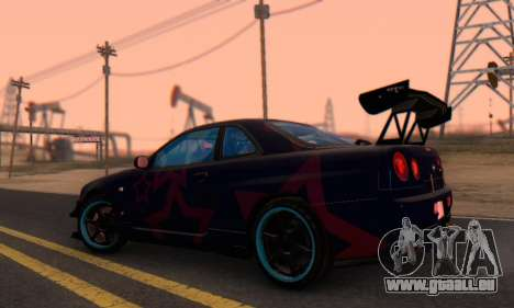 Nissan Skyline GTR 34 Blue Star pour GTA San Andreas vue de droite