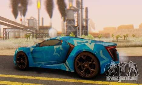 W-Motors Lykan Hypersport 2013 Blue Star für GTA San Andreas Innenansicht
